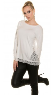 Sexy Koucla pullover with lace White