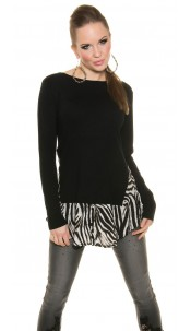 Trendy Kouclafineknitted jumper with Animalprint Black