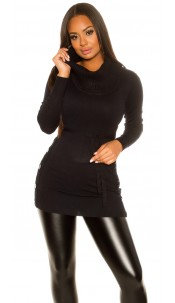 Trendy KouCla knitted dress with buttons Black