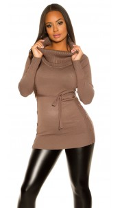 Trendy KouCla knitted dress with buttons Cappuccino