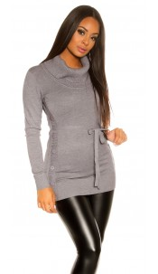 Trendy KouCla knitted dress with buttons Grey