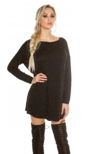 Oversize jumper with silver pearls Black