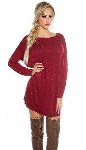 Oversize jumper with silver pearls Bordeaux