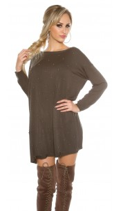 Oversize jumper with silver pearls Khaki