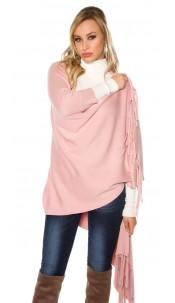 Trendy KouCla 2in1 fine knit cardigan/poncho Antiquepink
