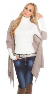 Trendy KouCla 2in1 fine knit cardigan/poncho Beige