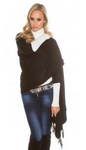Trendy KouCla 2in1 fine knit cardigan/poncho Black