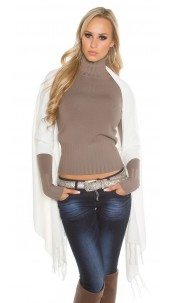 Trendy KouCla 2in1 fine knit cardigan/poncho White