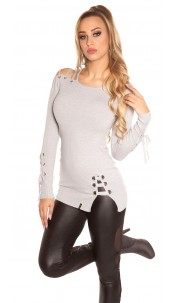 Sexy KouCla One Shoulder Sweater laced Grey