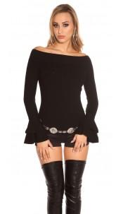 Sexy KouCla Ripp knit sweater with flounce Black