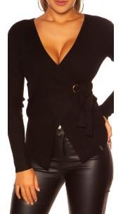 Sexy KouCla Wrap Sweater Black