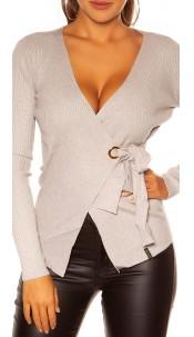 Sexy KouCla Wrap Sweater Grey