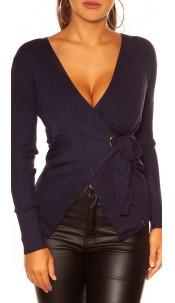 Sexy KouCla Wrap Sweater Navy