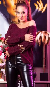 Sexy KouCla V-Cut sweater with chain decoration Bordeaux