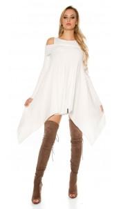 Sexy KouCla fine knit mini dress asymmetrical White