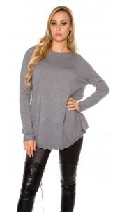 Trendy KouCla Oversize sweater Grey
