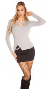 Trendy KouCla V-Cut fine knit sweater w. lacing Grey