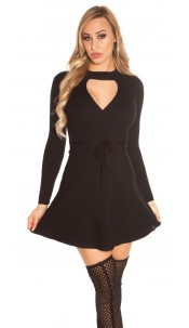 Sexy KouCla ripp knit dress wrap look Black