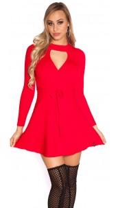 Sexy KouCla ripp knit dress wrap look Red