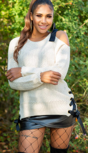 Sexy KouCla One Shoulder knit jumper Beige