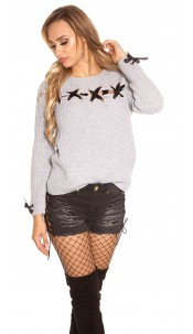 Trendy KouCla chunky knit jumper with lacing Grey