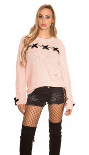 Trendy KouCla chunky knit jumper with lacing Rose