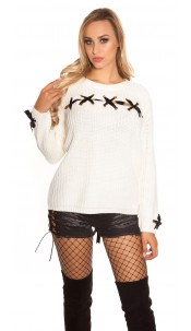 758f6397a8d9 Trendy KouCla chunky knit jumper with lacing Rose - ai0000IN-7037-5 ...