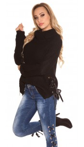 Trendy KouCla XL Collar knit jumper Black