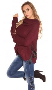 Trendy KouCla XL Collar knit jumper Bordeaux