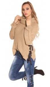 Trendy KouCla XL Collar knit jumper Cappuccino