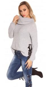 Trendy KouCla XL Collar knit jumper Grey
