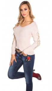 Sexy KouCla V-Cut knit sweater with lace Antiquepink