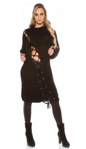 Trendy KouCla chunky knit dress with XL collar Black