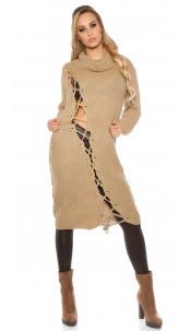 Trendy KouCla chunky knit dress with XL collar Cappuccino