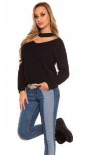 Trendy KouCla V-Cut knit jumper Black