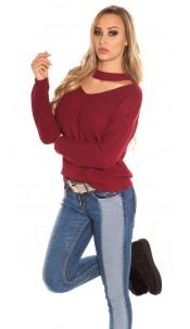 Trendy KouCla V-Cut knit jumper Bordeaux
