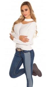 Trendy KouCla V-Cut knit jumper Cream