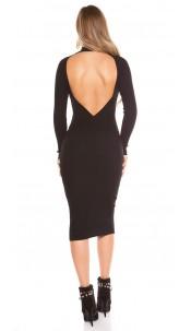 Sexy KouClaRipp knit dress with sexy back Black