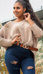 Trendy oversized chenille pullover met capuchon cappuccino