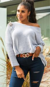 Trendy oversized chenille pullover met capuchon grijs