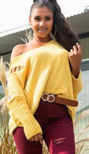 Trendy KouCla Oversize Chenille Pulli w. hood Yellow