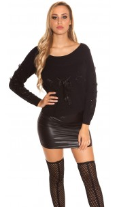 Trendy KouCla knit sweater with lacing Black