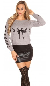 Trendy KouCla knit sweater with lacing Grey