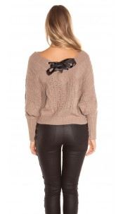Sexy KouCla XL V-Cut knit sweater with lacing Cappuccino