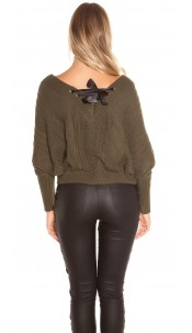 Sexy KouCla XL V-Cut knit sweater with lacing Khaki