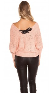 Sexy KouCla XL V-Cut knit sweater with lacing Rose