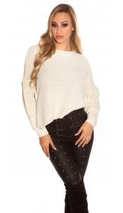 Trendy KouCla knit sweater with side- Button Beige