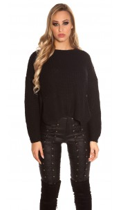Trendy KouCla knit sweater with side- Button Black
