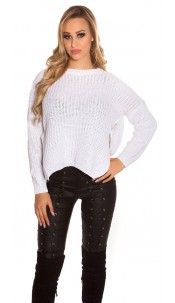 Trendy KouCla knit sweater with side- Button Cream