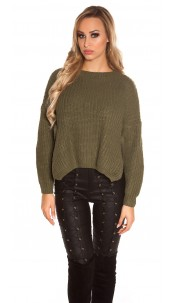 Trendy KouCla knit sweater with side- Button Green